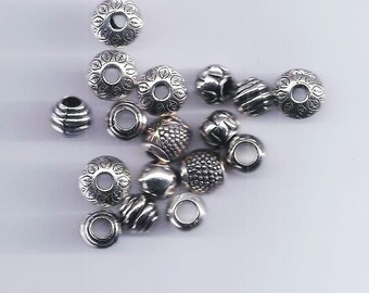 10 Pcs Mixed Antique Silver Acrylic Beads Spacers Beads (92)