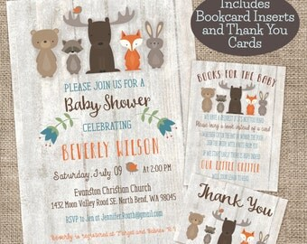 Whitewash Woodland Baby Shower Invitation, Bookcard, and Thank You combo