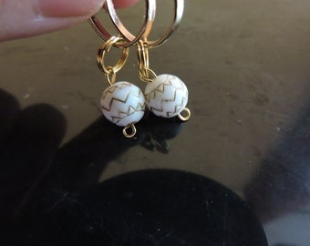 White and Gold Chevron Pattern Earrings