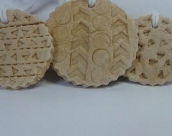 Set of Three Natural Salt Dough Ornaments