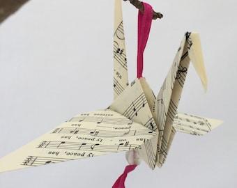 5 Paper crane decorations,