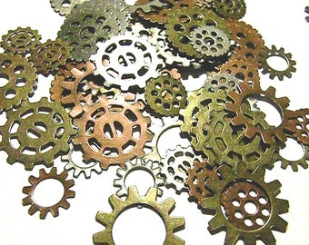 45 Steampunk Gears Cogs Sprockets Watch Like Parts Discs DIY Art Projects Mixed Media Big Lot