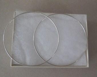 Large Hoop Earrings, Silver Endless Hoop Earrings, Silver Tube Earrings, Hollow Tubes,Solid Plain Earrings.