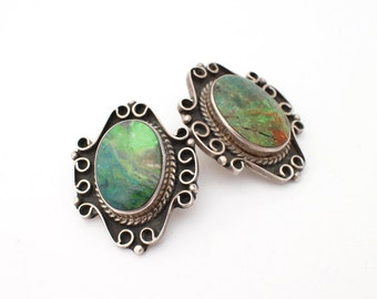 1960s Turquoise and Sterling Silver Taxco Earrings