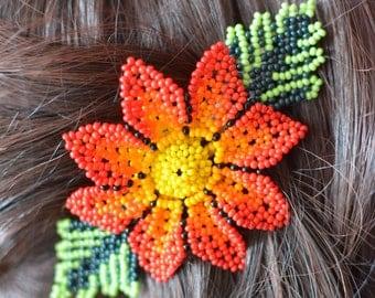 Hand beaded hair clip,  flower, handmade in Mexico,  multicolor beads, huichol art