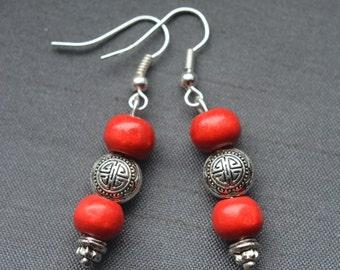 red wood beads earrings, with chinese longevity metal bead symbol