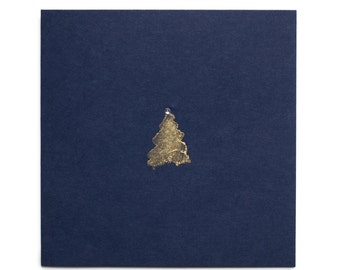 Christmas cards handmade with gold jewelled tree on blue card