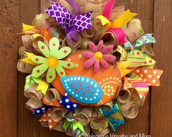 Spring Wreath, Bird Wreath, Summer Wreath, Spring Bird Mesh Wreath, Bird Burlap Deco Mesh Wreath