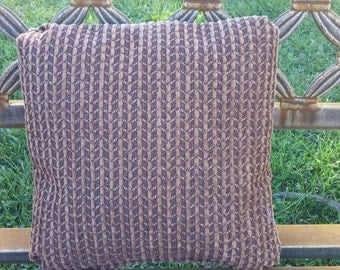 """12""""x12"""" Brown Chenille Pillow with pleated corners"""