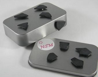 Black Seaglass magnet set - Refrigerator magnets - Beach House office decor - Imitation Sea Glass - Beach Glass Magnet - SG16