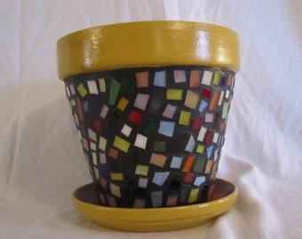 Multi Color Stained Glass Mosaic Flower Pot, Garden Art