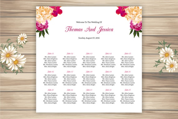 sale wedding seating chart template watercolor floral. Black Bedroom Furniture Sets. Home Design Ideas