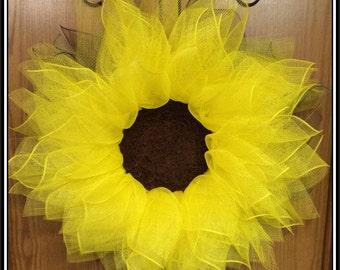Deco Mesh Wreath, Sunflower Wreath, Summer Wreath, Spring Wreath, Farm Wreath, Front Door Wreath,  w/ Moss Grass Center by A Noble Touch