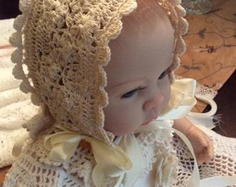 Crochet Baby bonnet pattern, christening bonnet pattern, blessing bonnet pattern, baptism bonnet pattern, crochet bonnet, crochet hat patter