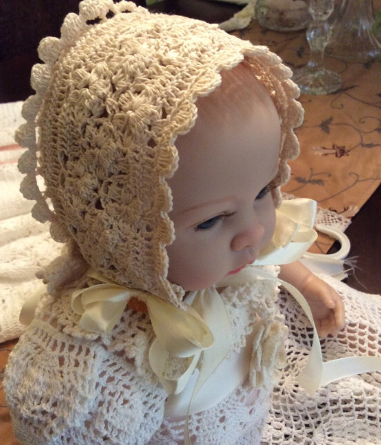crochet baby bonnet pattern christening bonnet pattern