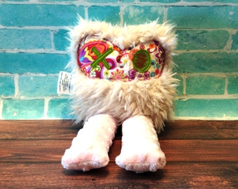 Fuzzy Faux Fur Monster - Fuzzy Monster Doll - Plush Monster - 15 Inch Monster - Plush Animal -  Cream With Paisley Floral