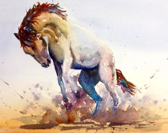 "Horse ""Kicking up a Storm"" - Contemporary colourful A3 Giclee Watercolour print from an original watercolour by Karen Thomas"