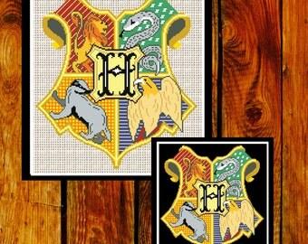 Cross Stitch Pattern. Harry Potter Cross stitch. Hogwarts Crest Cross Stitch (#P- 0029). Harry Cross stitch.  Modern Cross Stitch pattern.