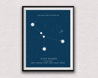 Cancer, personalised star sign, Birth Sign, zodiac print, Cancer Print, Astrology print, star constellation, star sign wall art,