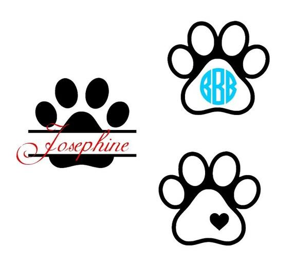 Split Dog Paw Monogram Svg Cut File For By Ohthisdigitalfun