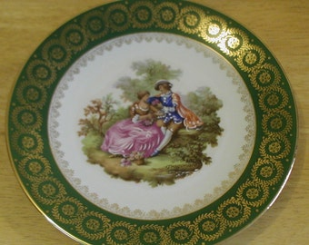 Vintage Green and Gold French Limoges Bone China Lovers Plate