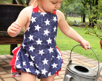 SALE Size 12 month-1 year - Stars & Stripes Ruffle Romper - Red White and Blue - Baby Romper - Ruffle Bum Romper - Baby Girl - Ready to Ship