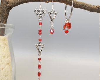 Trios Red Flaming Earrings, Asymmetrical earrings, mix and match earrings, extreme asymmetrical earrings