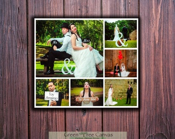 Wedding  Collage,Personalized Pictures Gift,Words Text Quote Sayings,Collage with words,Gallery Wrapped Canvas ready to hang on the wall