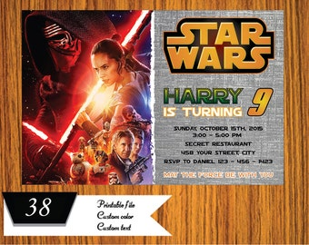 Star Wars Invitation 2015 - 2016 - Star Wars Birthday Invitation -  Star Wars Party Printable - FREE card THANK YOU | M38