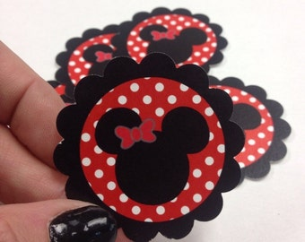 Red & Black Minnie Mouse Treat Tags - Choose Your Own Quantity
