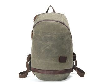 Vintage Style Leather Canvas Backpack ( Faded Olive)