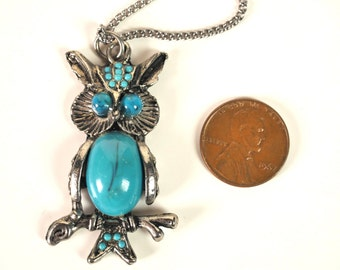 Vintage Turquoise Costume Owl Necklace FREE SHIPPING!