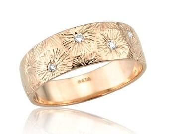 Wide Band Diamond Ring, Art Nouveau Diamond Ring, 18k Gold Band, Matte Finish, Floral Engraving, Rose Gold Wedding Band, Wide Diamond Band