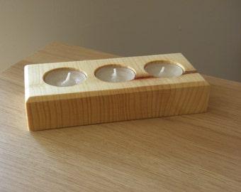 Triple Wooden tea light holder