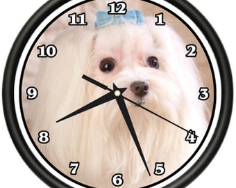 Maltese Wall Clock Dog Doggie Pet Breed Gift