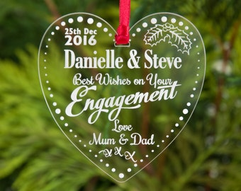 Engagement Best Wishes Personalised Xmas Baubles Engraved Tree Decorations Gifts Christmas Keepsake Newly Engaged Gift Bauble
