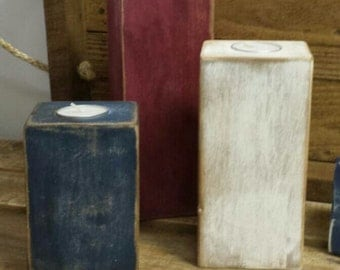 Red, White & Blue pallet wood candle holder