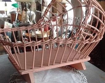 Vintage-antique-pink-wicker-wood-doll-rocking-cradle
