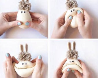 Easter gift, Bunny, Montessori toy, Kids gift, Woodland Animal, Creative game, Smile Face, Stress Ball, Handmade toy,White, Brown,