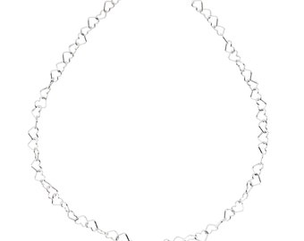 "Sterling Silver 6mm Heart Link 7.25"" Chain Bracelet"