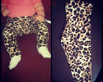 Leopard / cheetah print baby leggings / pants (nb -2t)
