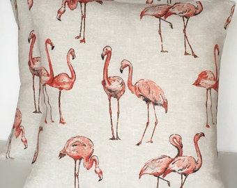 "2 x 16"" Flamingo Linen Look Cotton Cushion Covers"