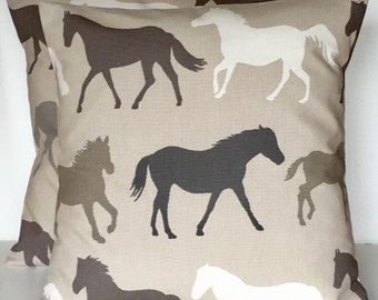 """2 x 16"""" (40cm x 40cm) Stampede taupe white grey horse print cushion covers"""