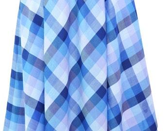 Blue Checked High Elastic Waist Skirt: Size 8