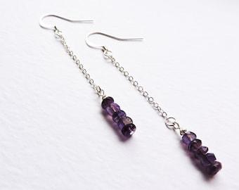Long Amethyst Silver Earrings - Deep Purple Amethyst faceted long chain drop ear wire hook earrings