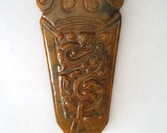 Vintage Chinese Stone Carved Large Pendant for Cord Necklace
