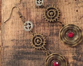 Steampunk Gear and Charm Earrings