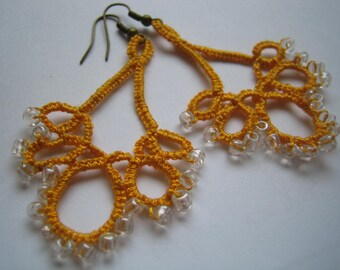 Tatted earrings, Beaded tatting lace earrings, Gift earrings - lace, Your color choice, Made to order