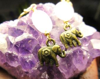 Rose Quartz Elephant Dangle Earrings
