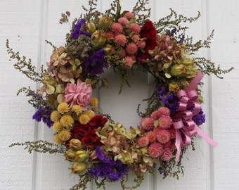 Spring Wreath, Mother's Day Wreath, Small Wreath, Dried Flower Wreath
